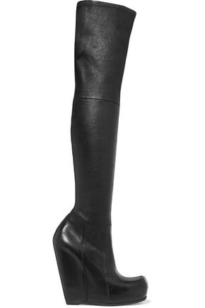 RICK OWENS Leather wedge over-the-knee boots
