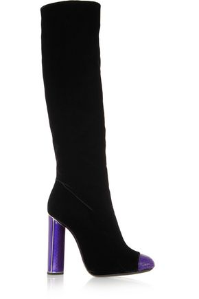 TOM FORD Bead-embellished velvet knee boots