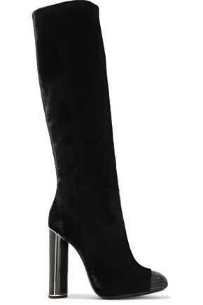 TOM FORD Bead-embellished velvet over-the-knee boots