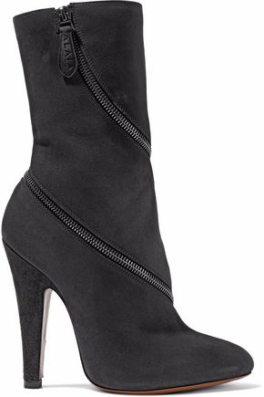 ALAÏA Zip-detailed suede ankle boots