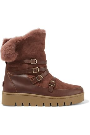 AUSTRALIA LUXE COLLECTIVE Icon buckled leather-paneled shearling boots