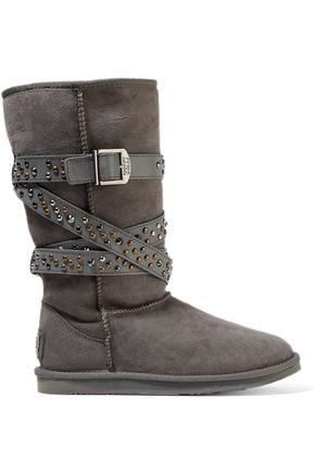 AUSTRALIA LUXE COLLECTIVE Devil studded leather-trimmed shearling boots