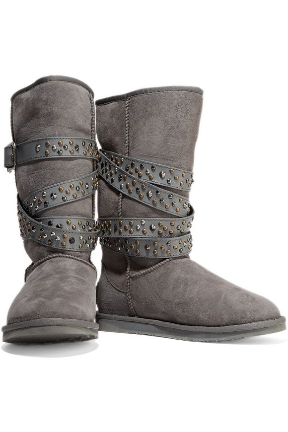 Devil studded leather-trimmed shearling boots | AUSTRALIA LUXE COLLECTIVE | Sale  up to 70% off | THE OUTNET