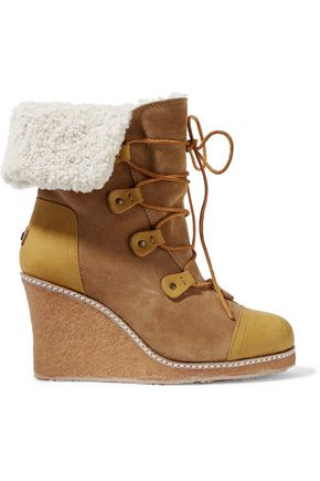 4b22e3e10530 AUSTRALIA LUXE COLLECTIVE WOMAN MONA SHEARLING-LINED LEATHER AND SUEDE WEDGE  BOOTS TAN