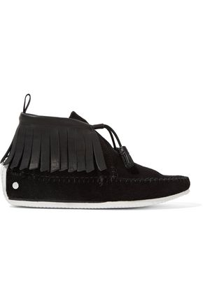 RAG & BONE Ghita fringed suede and leather moccasins