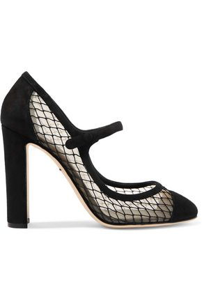 WOMAN SUEDE AND MESH PUMPS BLACK
