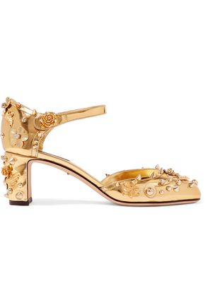 DOLCE & GABBANA Embellished mirrored-leather pumps