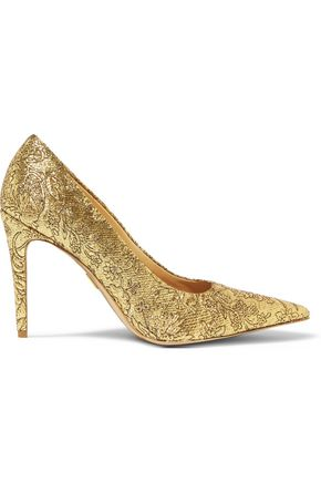 MICHAEL KORS COLLECTION Bromwell embroidered metallic mesh pumps