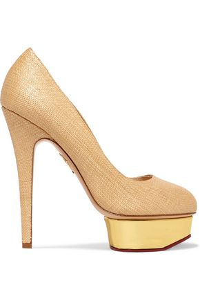 CHARLOTTE OLYMPIA Dolly raffia platform pumps