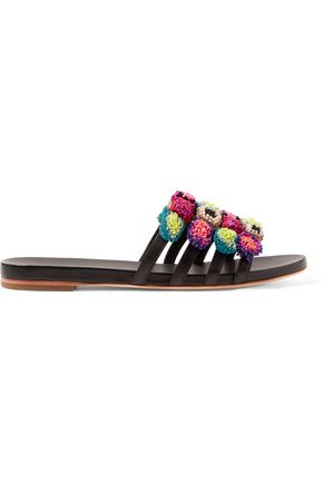 LOEFFLER RANDALL Pompom-embellished cutout leather slides