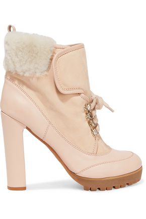REDValentino Leather and shearling-trimmed suede ankle boots