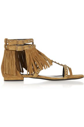 SAINT LAURENT Studded fringed suede sandals