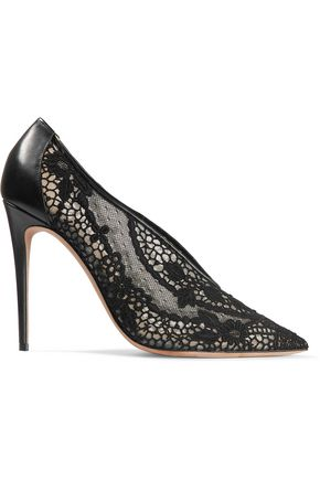 VALENTINO Leather-trimmed guipure lace pumps