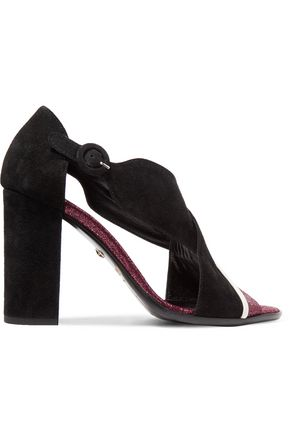 JUST CAVALLI Leather-trimmed suede sandals