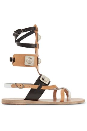 ANCIENT GREEK SANDALS + Peter Pilotto Low Gladiator studded leather sandals