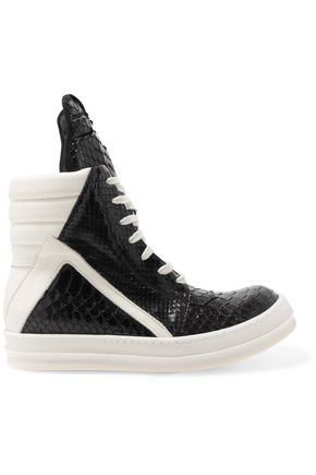 RICK OWENS Snake-effect leather high-top sneakers
