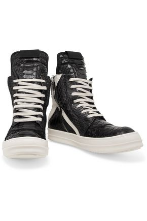 ... RICK OWENS Snake-effect leather high-top sneakers ...