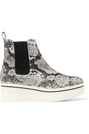 STELLA McCARTNEY Snake-effect faux patent-leather wedge boots