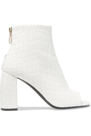 STELLA McCARTNEY Croc-effect faux leather ankle boots