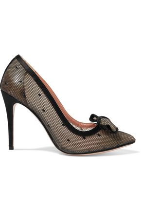 REDValentino Satin-trimmed rubber-mesh pumps