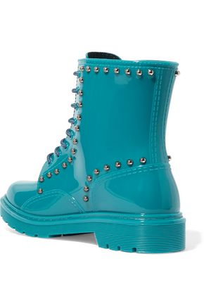 RED(V) Studded rubber rain boots