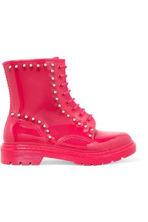 RED(V) Stud-embellished rubber rain boots