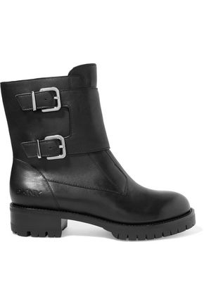 DKNY Morgan buckled leather biker boots