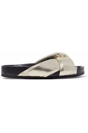 CHLOÉ Metallic cracked-leather slides