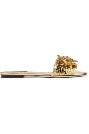 DOLCE & GABBANA Embellished mirrored-leather slides