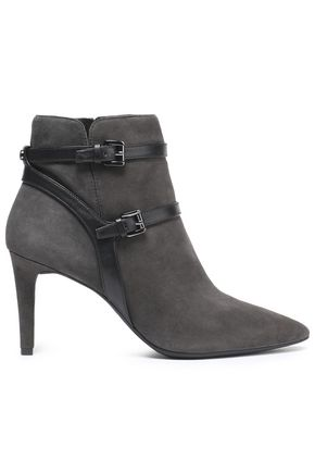 MICHAEL MICHAEL KORS Fawn leather-trimmed suede ankle boots