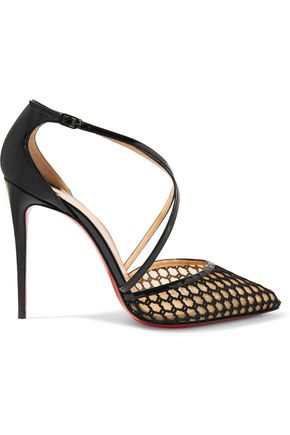 CHRISTIAN LOUBOUTIN Cross Blake 100 patent-leather and embroidered mesh pumps