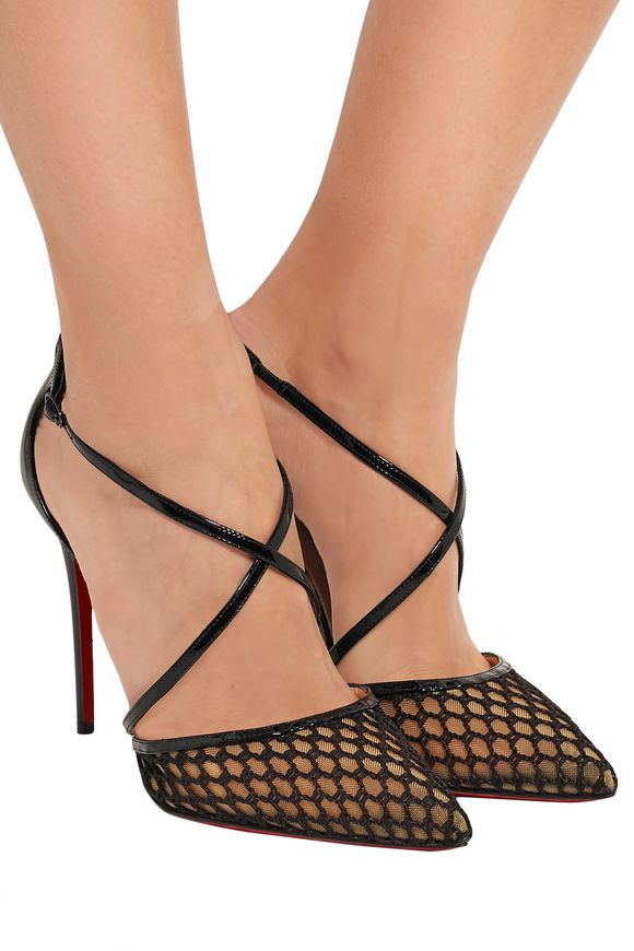 df8bbab9280a Cross Blake 100 patent-leather and embroidered mesh pumps ...