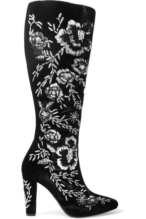SAINT LAURENT Lily embellished velvet knee boots