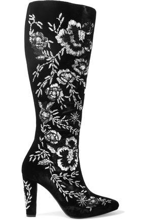 SAINT LAURENT Lily embellished velvet knee boots