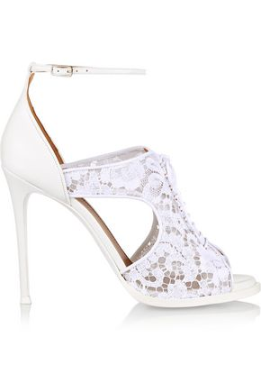 Givenchy Woman Platform Sandals In White Leather And Lace White Size 40 Givenchy e623Il