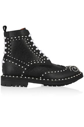 GIVENCHY Ankle boots in faux pearl-embellished black textured-leather