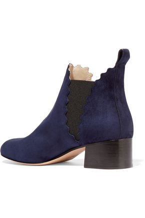 CHLOÉ Lauren scalloped suede ankle boots