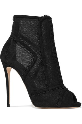DOLCE & GABBANA Embroidered mesh and suede peep-toe ankle boots