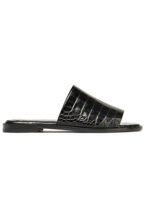 ELLERY Snake-effect leather slides