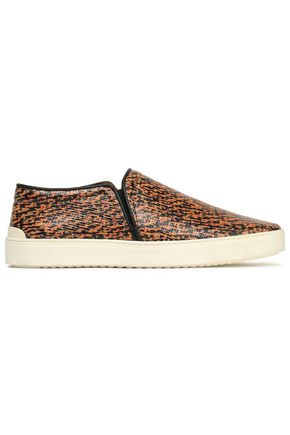 RAG & BONE Printed textured-leather slip-on sneakers