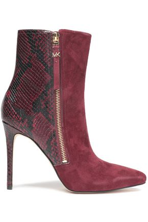 MICHAEL MICHAEL KORS Paneled suede and snake-effect leather ankle boots