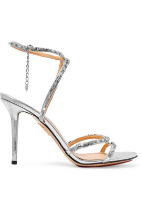 CHARLOTTE OLYMPIA Evelyn embellished metallic leather sandals