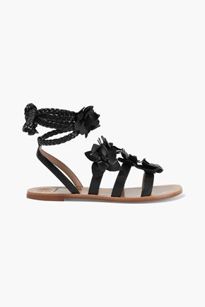 TORY BURCH Floral-appliquéd leather sandals