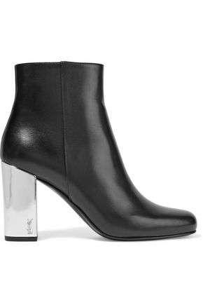 SAINT LAURENT Babies metallic-trimmed leather ankle boots