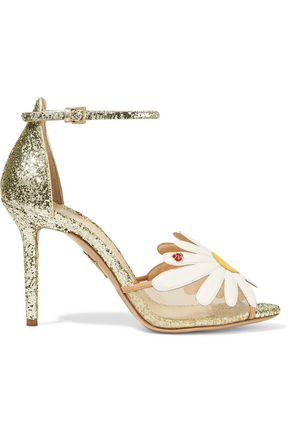 CHARLOTTE OLYMPIA Appliquéd mesh and glittered leather sandals