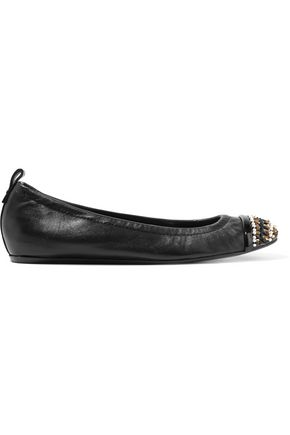 LANVIN Embellished leather ballet flats