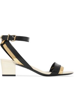LANVIN Metallic-trimmed leather sandals