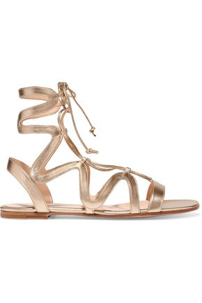 GIANVITO ROSSI Lace-up metallic leather sandals