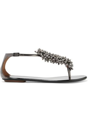 AQUAZZURA Monaco bead-embellished metallic leather sandals