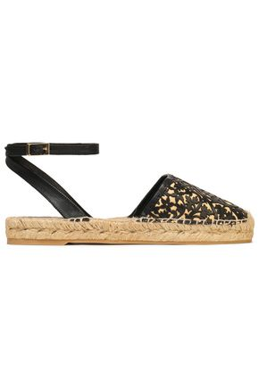 OSCAR DE LA RENTA Canvas and laser-cut leather espadrilles
